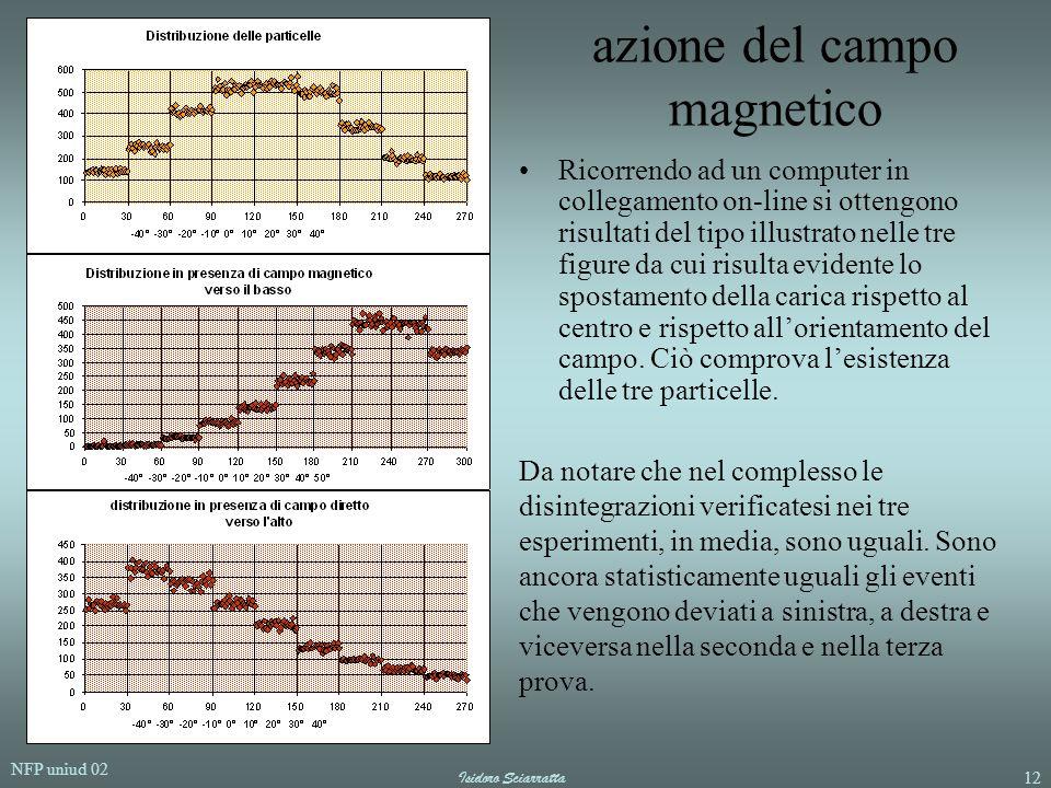 NFP uniud 02 Isidoro Sciarratta12 azione del campo magnetico Ricorrendo ad un computer in collegamento on-line si ottengono risultati del tipo illustr