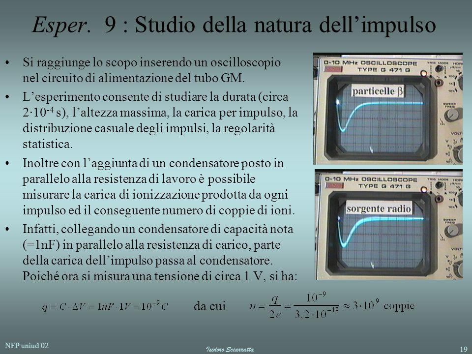 NFP uniud 02 Isidoro Sciarratta19 Esper. 9 : Studio della natura dell'impulso Si raggiunge lo scopo inserendo un oscilloscopio nel circuito di aliment