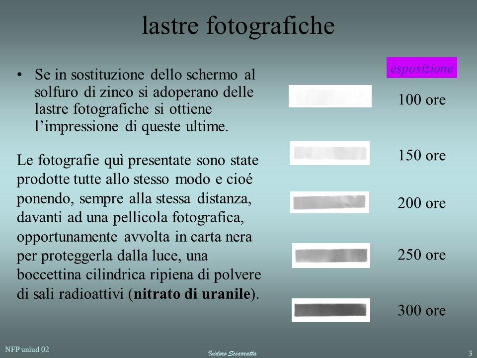 NFP uniud 02 Isidoro Sciarratta3 lastre fotografiche Se in sostituzione dello schermo al solfuro di zinco si adoperano delle lastre fotografiche si ot