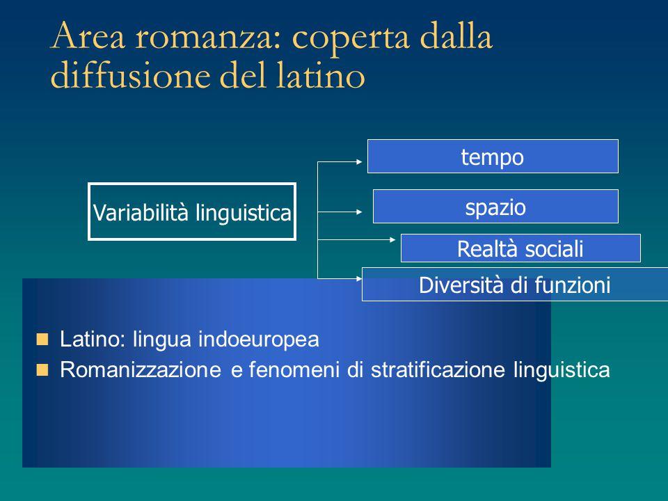 Area romanza: coperta dalla diffusione del latino Latino: lingua indoeuropea Romanizzazione e fenomeni di stratificazione linguistica Variabilità ling