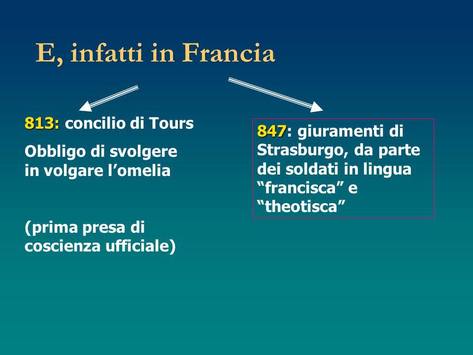 E, infatti in Francia 813: 813: concilio di Tours Obbligo di svolgere in volgare l'omelia (prima presa di coscienza ufficiale) 847 847: giuramenti di