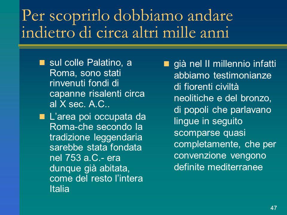 47 Per scoprirlo dobbiamo andare indietro di circa altri mille anni sul colle Palatino, a Roma, sono stati rinvenuti fondi di capanne risalenti circa