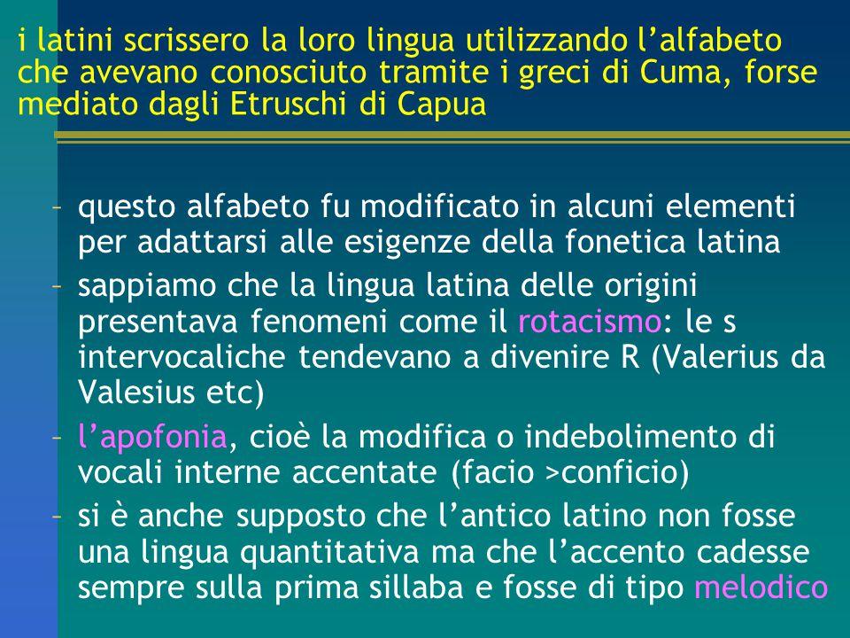 i latini scrissero la loro lingua utilizzando l'alfabeto che avevano conosciuto tramite i greci di Cuma, forse mediato dagli Etruschi di Capua –questo