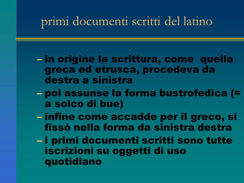 primi documenti scritti del latino –in origine la scrittura, come quella greca ed etrusca, procedeva da destra a sinistra –poi assunse la forma bustro