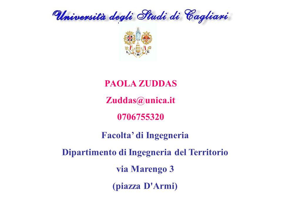 PAOLA ZUDDAS Zuddas@unica.it 0706755320 Facolta' di Ingegneria Dipartimento di Ingegneria del Territorio via Marengo 3 (piazza D'Armi)