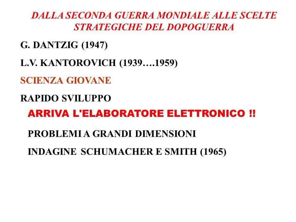DALLA SECONDA GUERRA MONDIALE ALLE SCELTE STRATEGICHE DEL DOPOGUERRA G. DANTZIG (1947) L.V. KANTOROVICH (1939….1959) SCIENZA GIOVANE RAPIDO SVILUPPO P