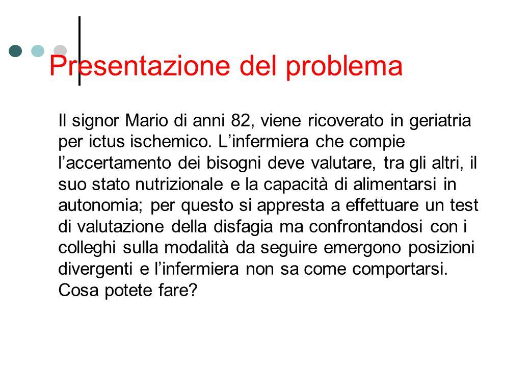 Presentazione del problema Il signor Mario di anni 82, viene ricoverato in geriatria per ictus ischemico. L'infermiera che compie l'accertamento dei b