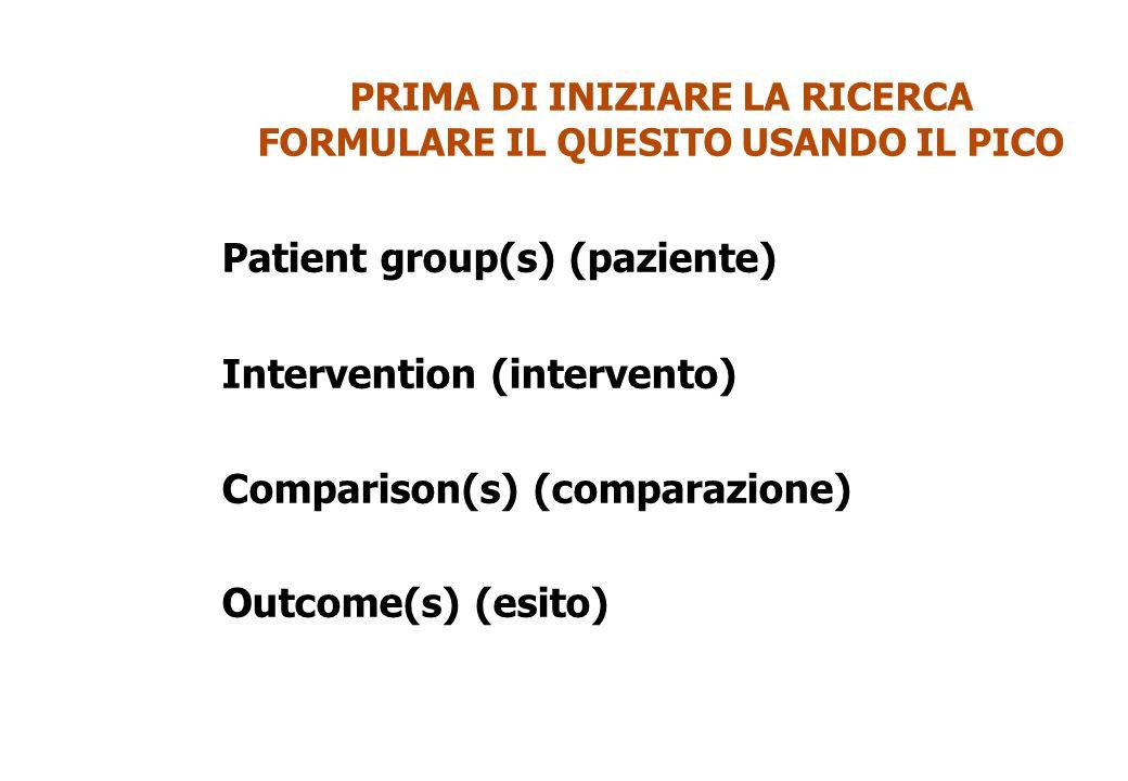 PRIMA DI INIZIARE LA RICERCA FORMULARE IL QUESITO USANDO IL PICO Patient group(s) (paziente) Intervention (intervento) Comparison(s) (comparazione) Ou