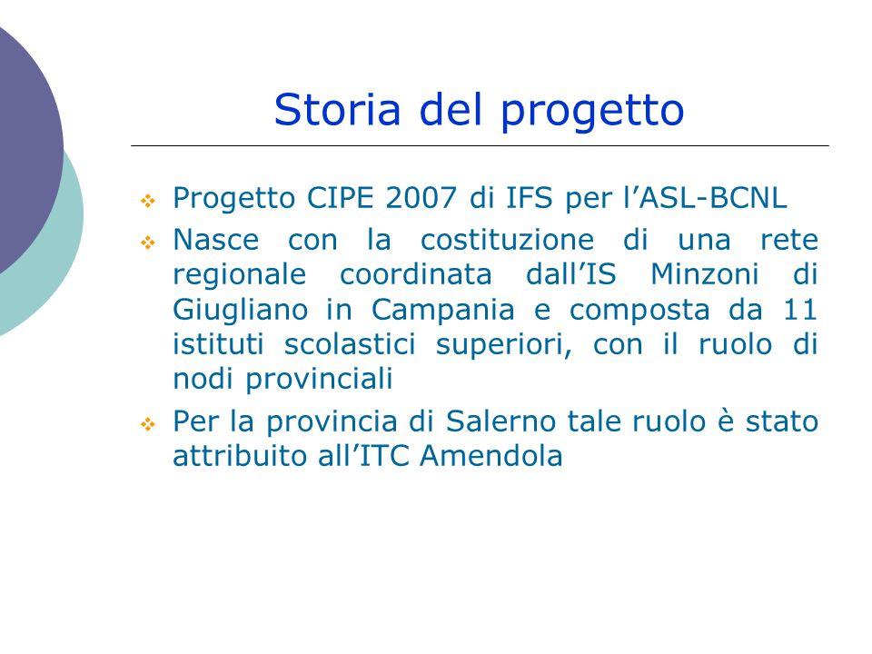 Storia del progetto  Progetto CIPE 2007 di IFS per l'ASL-BCNL  Nasce con la costituzione di una rete regionale coordinata dall'IS Minzoni di Giugliano in Campania e composta da 11 istituti scolastici superiori, con il ruolo di nodi provinciali  Per la provincia di Salerno tale ruolo è stato attribuito all'ITC Amendola