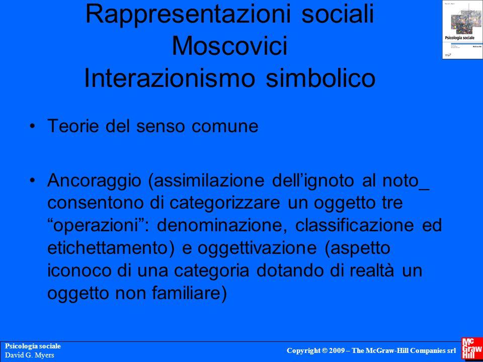 Psicologia sociale David G. Myers Copyright © 2009 – The McGraw-Hill Companies srl Rappresentazioni sociali Moscovici Interazionismo simbolico Teorie