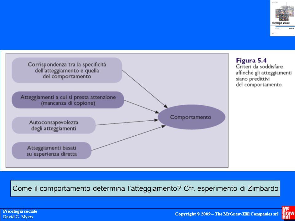 Psicologia sociale David G. Myers Copyright © 2009 – The McGraw-Hill Companies srl Come il comportamento determina l'atteggiamento? Cfr. esperimento d