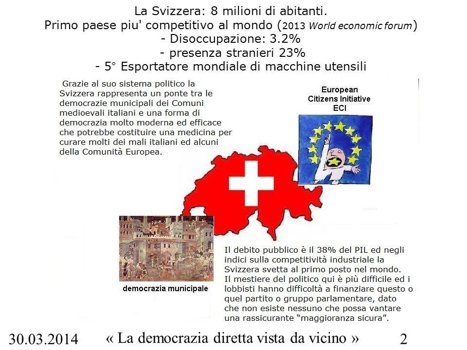 30.03.2014 « La democrazia diretta vista da vicino » 2 La Svizzera: 8 milioni di abitanti. Primo paese piu' competitivo al mondo ( 2013 World economic