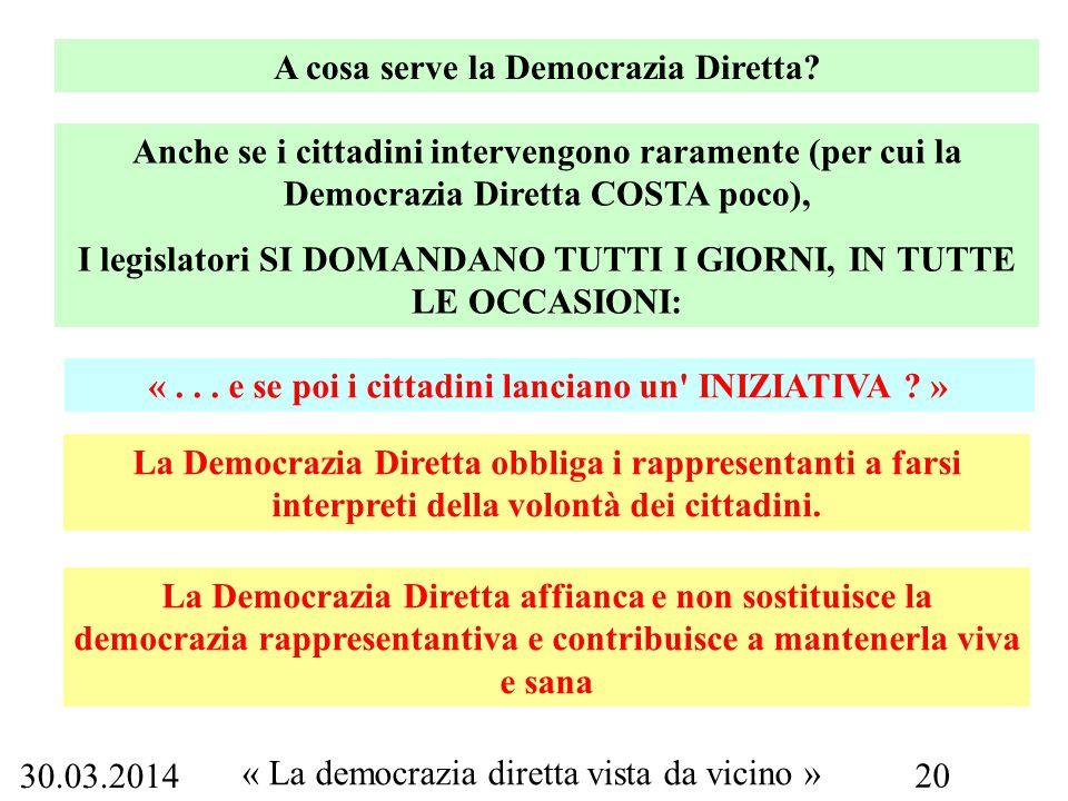 30.03.2014 « La democrazia diretta vista da vicino » 20 A cosa serve la Democrazia Diretta.
