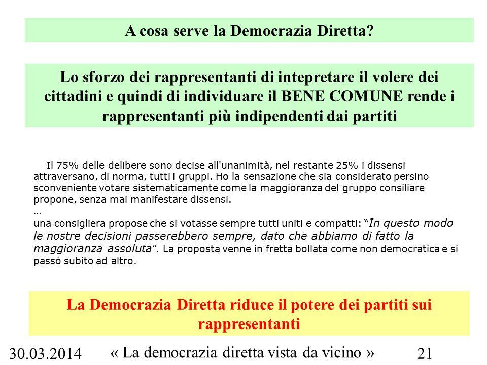 30.03.2014 « La democrazia diretta vista da vicino » 21 A cosa serve la Democrazia Diretta.