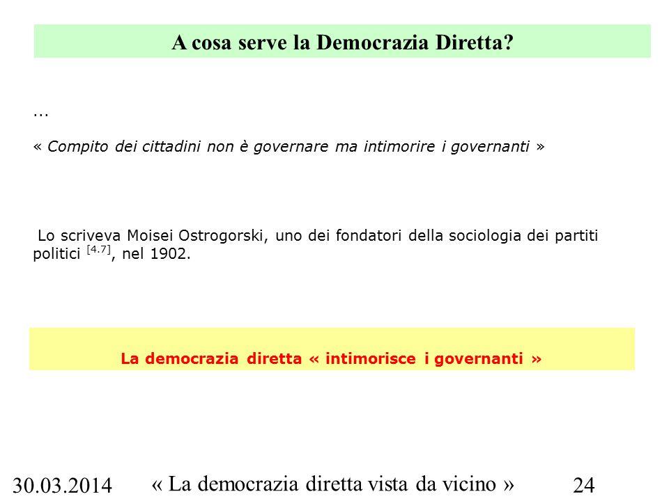 30.03.2014 « La democrazia diretta vista da vicino » 24 A cosa serve la Democrazia Diretta.