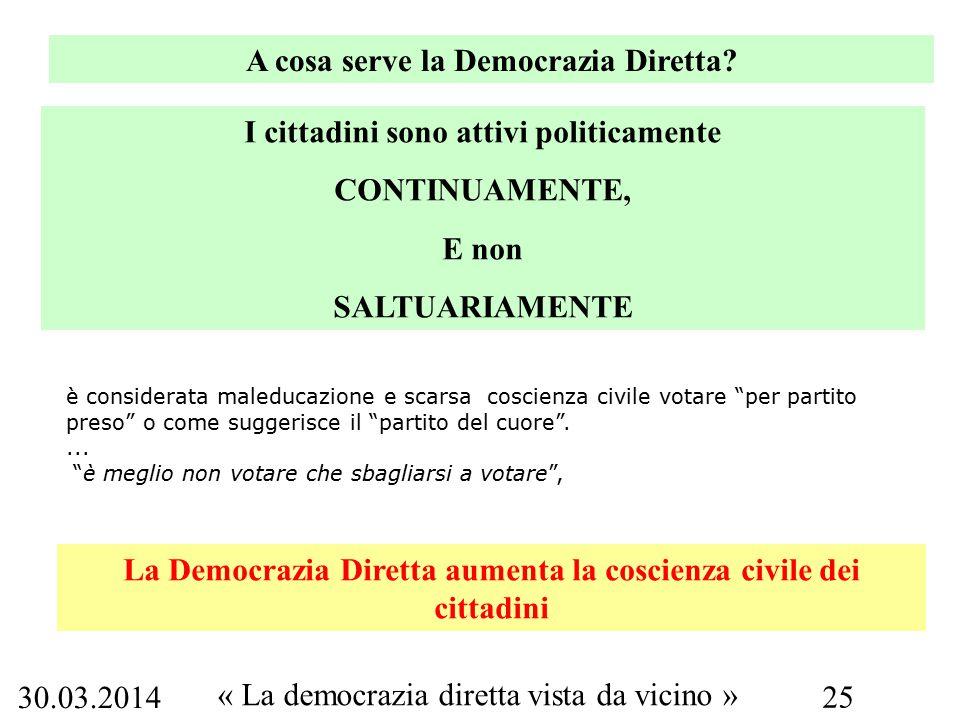 30.03.2014 « La democrazia diretta vista da vicino » 25 A cosa serve la Democrazia Diretta.