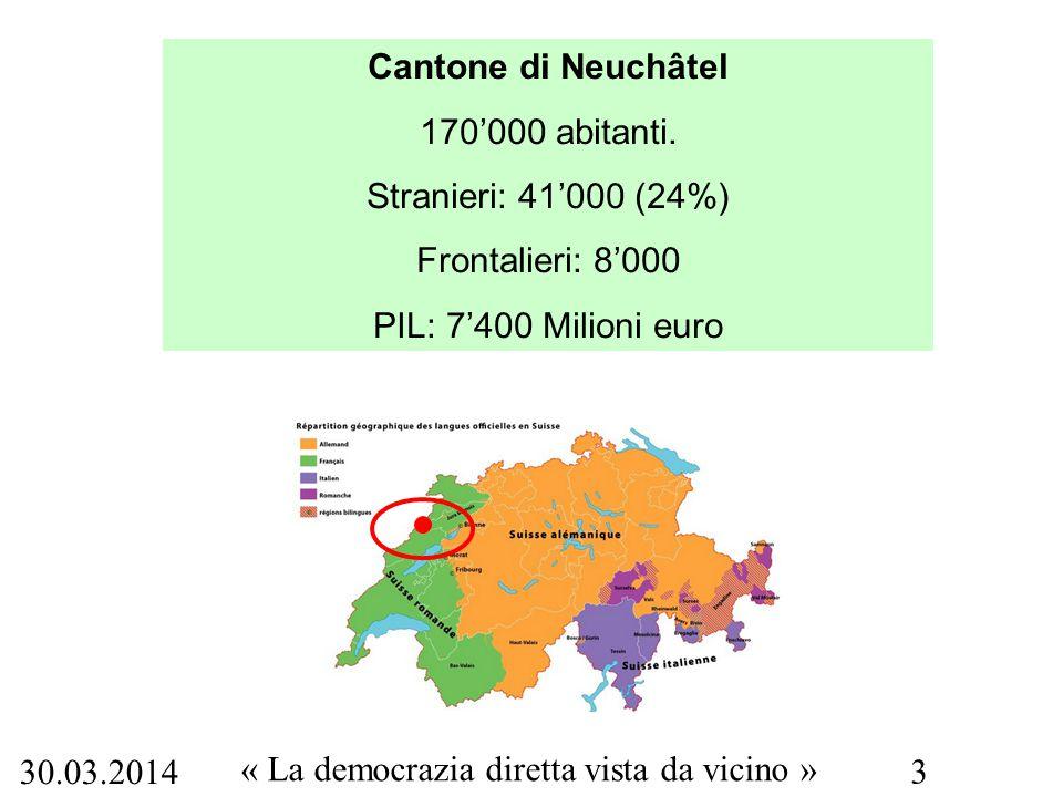 30.03.2014 « La democrazia diretta vista da vicino » 3 Cantone di Neuchâtel 170'000 abitanti. Stranieri: 41'000 (24%) Frontalieri: 8'000 PIL: 7'400 Mi