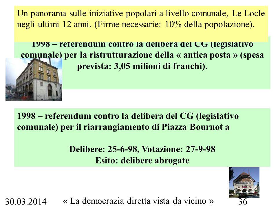 30.03.2014 « La democrazia diretta vista da vicino » 36 1998 – referendum contro la delibera del CG (legislativo comunale) per la ristrutturazione della « antica posta » (spesa prevista: 3,05 milioni di franchi).