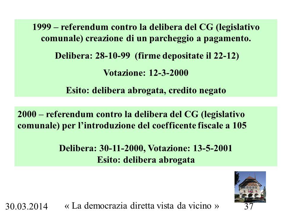 30.03.2014 « La democrazia diretta vista da vicino » 37 1999 – referendum contro la delibera del CG (legislativo comunale) creazione di un parcheggio a pagamento.