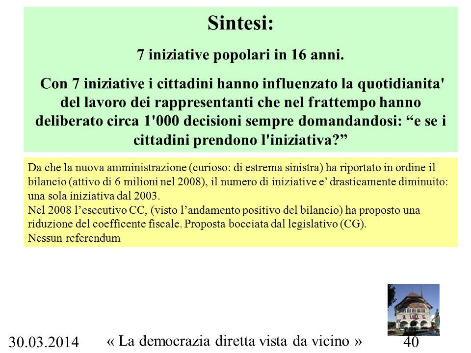 30.03.2014 « La democrazia diretta vista da vicino » 40 Sintesi: 7 iniziative popolari in 16 anni.