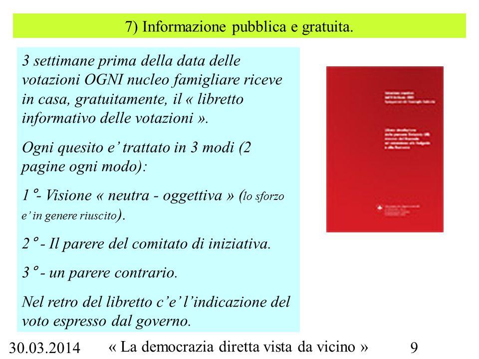 30.03.2014 « La democrazia diretta vista da vicino » 9 7) Informazione pubblica e gratuita.