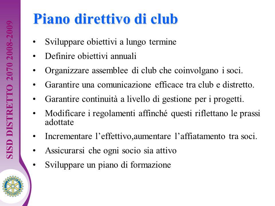Distretto XXXX Seminario di formazione della squadra distrettuale. Guida per dirigenti 7 Piano direttivo di club Sviluppare obiettivi a lungo termine