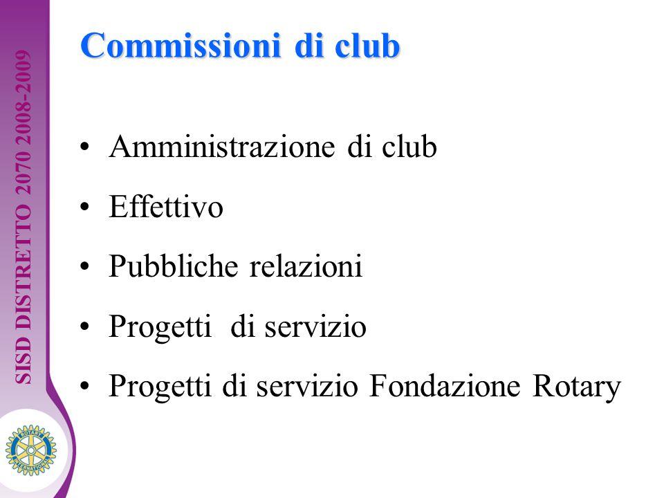 Distretto XXXX Seminario di formazione della squadra distrettuale. Guida per dirigenti 8 Commissioni di club Amministrazione di club Effettivo Pubblic