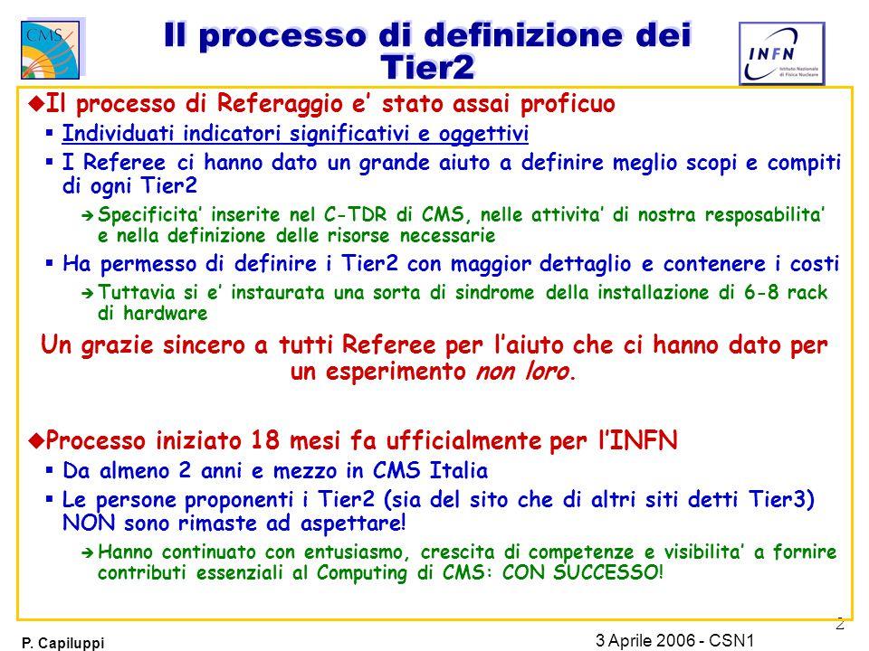 2 P. Capiluppi 3 Aprile 2006 - CSN1 Il processo di definizione dei Tier2 u Il processo di Referaggio e' stato assai proficuo  Individuati indicatori