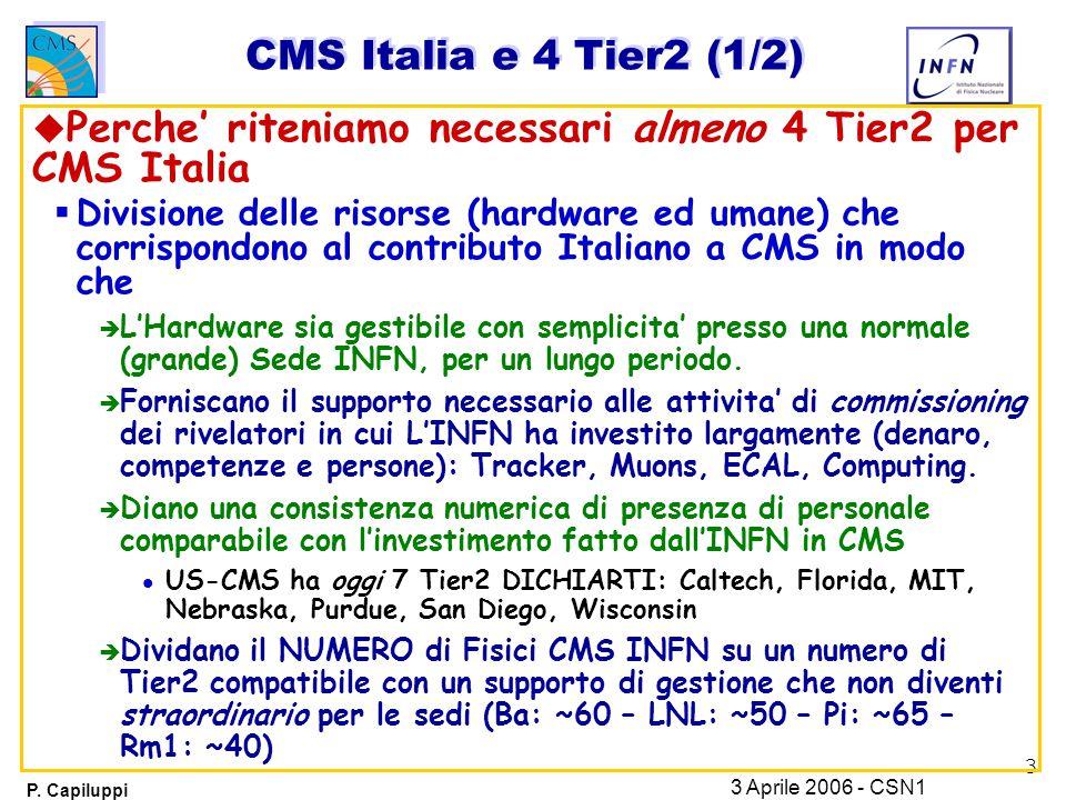 3 P. Capiluppi 3 Aprile 2006 - CSN1 CMS Italia e 4 Tier2 (1/2) u Perche' riteniamo necessari almeno 4 Tier2 per CMS Italia  Divisione delle risorse (