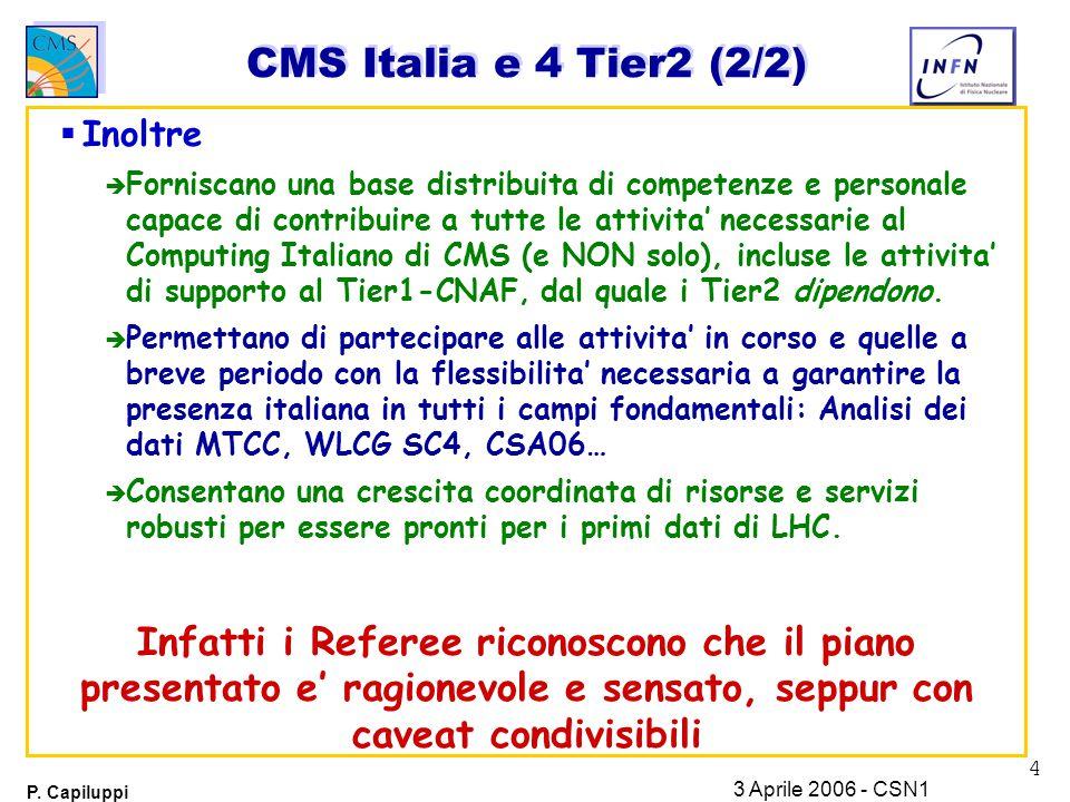 4 P. Capiluppi 3 Aprile 2006 - CSN1 CMS Italia e 4 Tier2 (2/2)  Inoltre è Forniscano una base distribuita di competenze e personale capace di contrib