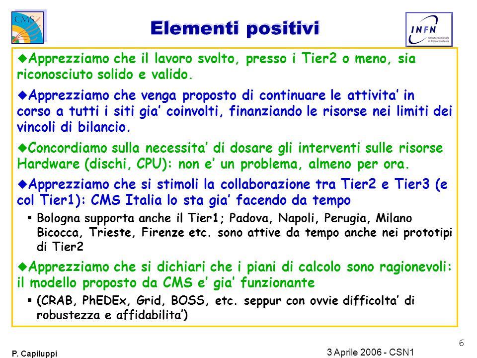 6 P. Capiluppi 3 Aprile 2006 - CSN1 Elementi positivi u Apprezziamo che il lavoro svolto, presso i Tier2 o meno, sia riconosciuto solido e valido. u A