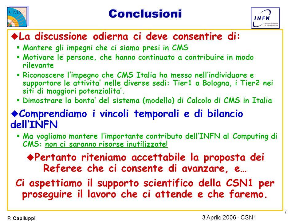 7 P. Capiluppi 3 Aprile 2006 - CSN1 Conclusioni u La discussione odierna ci deve consentire di:  Mantere gli impegni che ci siamo presi in CMS  Moti