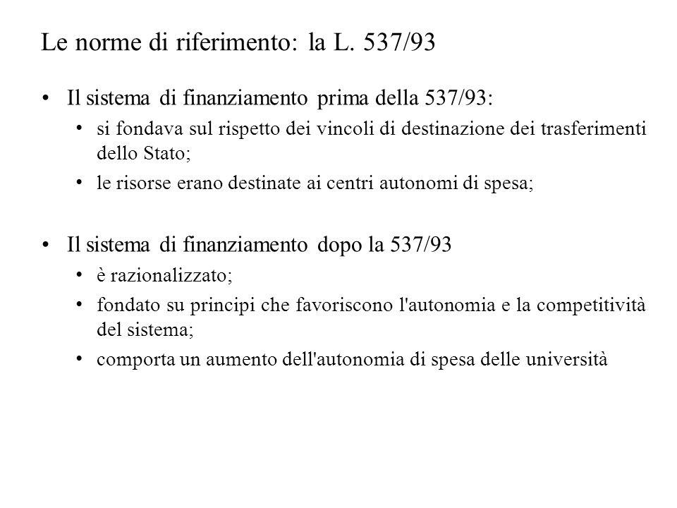 Il sistema di finanziamento prima della 537/93: si fondava sul rispetto dei vincoli di destinazione dei trasferimenti dello Stato; le risorse erano destinate ai centri autonomi di spesa; Il sistema di finanziamento dopo la 537/93 è razionalizzato; fondato su principi che favoriscono l autonomia e la competitività del sistema; comporta un aumento dell autonomia di spesa delle università Le norme di riferimento: la L.
