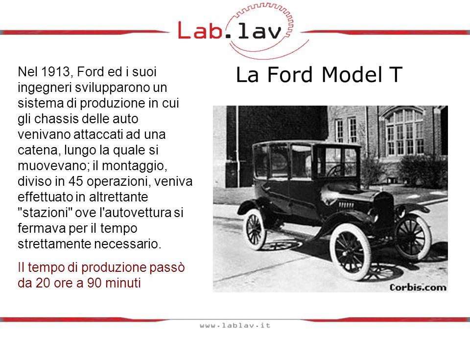 La Ford Model T Nel 1913, Ford ed i suoi ingegneri svilupparono un sistema di produzione in cui gli chassis delle auto venivano attaccati ad una catena, lungo la quale si muovevano; il montaggio, diviso in 45 operazioni, veniva effettuato in altrettante stazioni ove l autovettura si fermava per il tempo strettamente necessario.