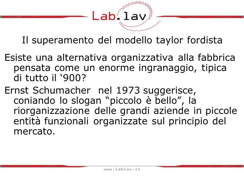 Il superamento del modello taylor fordista Esiste una alternativa organizzativa alla fabbrica pensata come un enorme ingranaggio, tipica di tutto il '900.