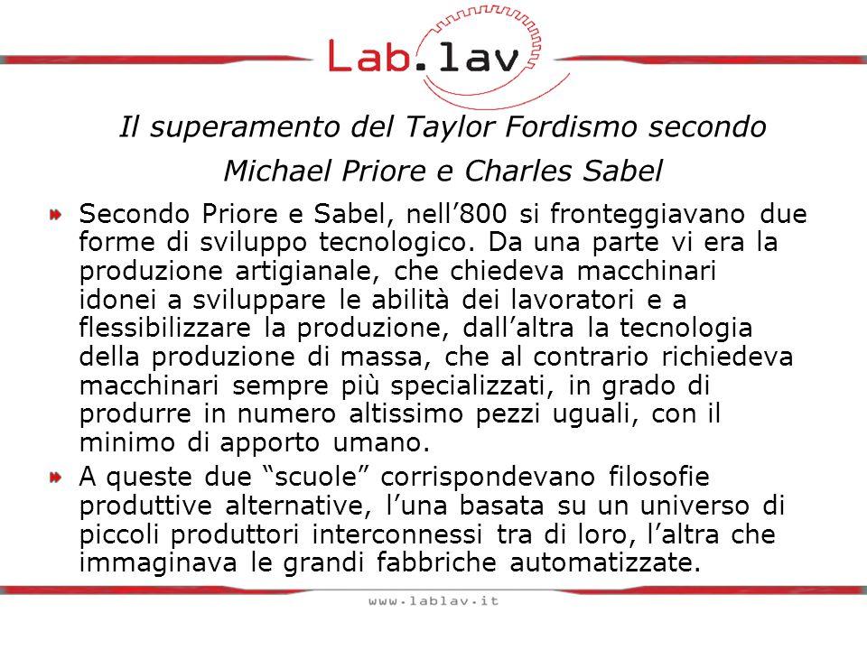 Il superamento del Taylor Fordismo secondo Michael Priore e Charles Sabel Secondo Priore e Sabel, nell'800 si fronteggiavano due forme di sviluppo tecnologico.
