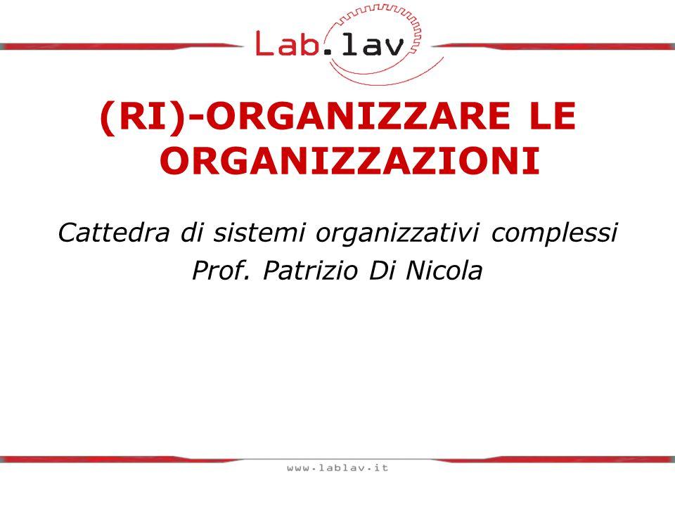 (RI)-ORGANIZZARE LE ORGANIZZAZIONI Cattedra di sistemi organizzativi complessi Prof.
