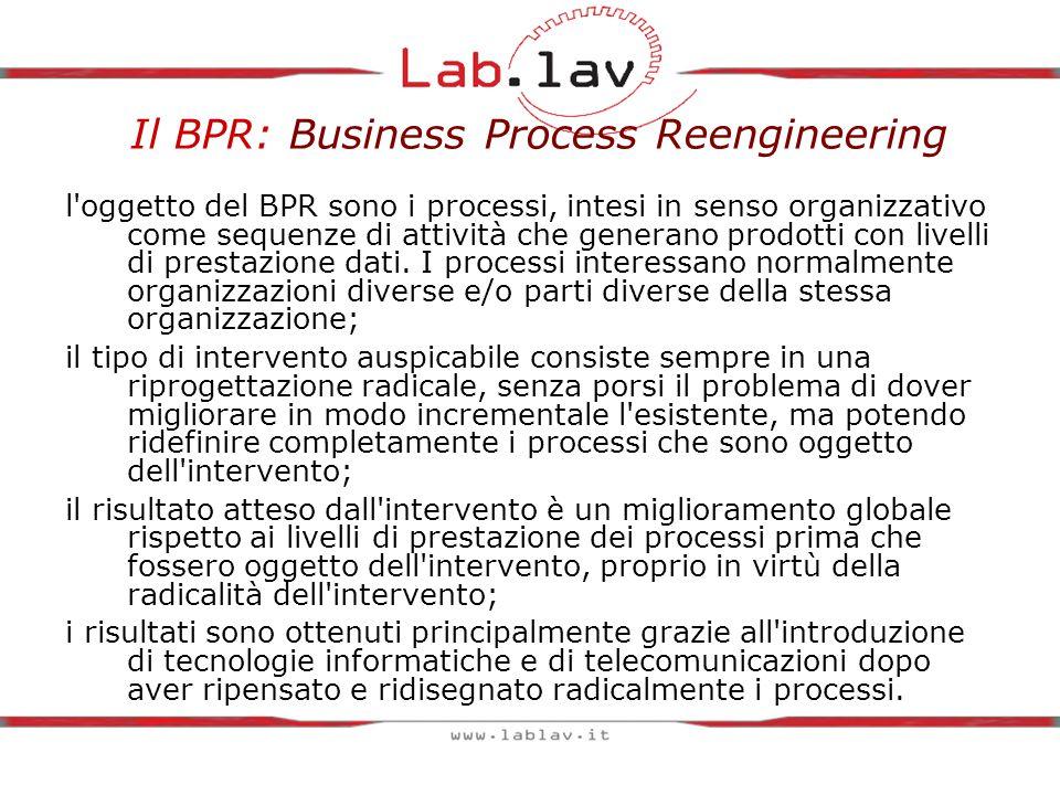 Il BPR: Business Process Reengineering l oggetto del BPR sono i processi, intesi in senso organizzativo come sequenze di attività che generano prodotti con livelli di prestazione dati.