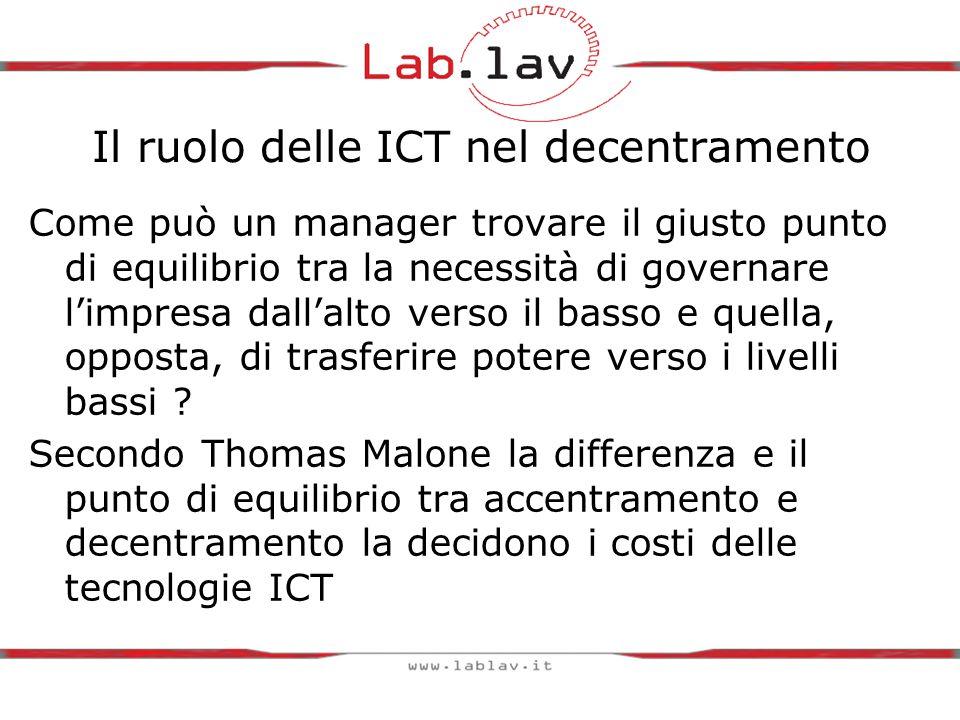 Il ruolo delle ICT nel decentramento Come può un manager trovare il giusto punto di equilibrio tra la necessità di governare l'impresa dall'alto verso il basso e quella, opposta, di trasferire potere verso i livelli bassi .