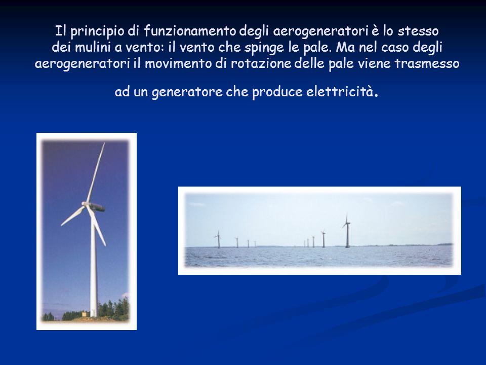 Il principio di funzionamento degli aerogeneratori è lo stesso dei mulini a vento: il vento che spinge le pale.