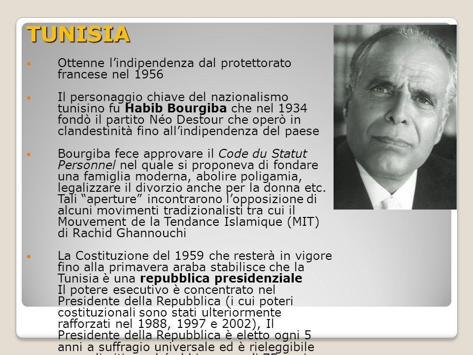 La Tunisia di Ben Alì Nel 1987 a Bourgiba subentrò Ben Alì (allora primo ministro) Ben Alì si propose come l'uomo nuovo, intenzionato a ripristinare le libertà individuali (previste dalla costituzione ma bloccate dal continuo stato di emergenza) e le libertà democratiche (es: multipartistimo) Ciò non accadde mai e anzi negli anni Ben Alì instaurò uno stato sempre più di polizia : alle opposizioni non venne permesso l'ingresso in politica, la costituzione fu emendata per far si che il presidente venisse eletto per più di 3 mandati, le elezioni erano sempre caratterizzate da brogli, la libertà di espressione scarsa