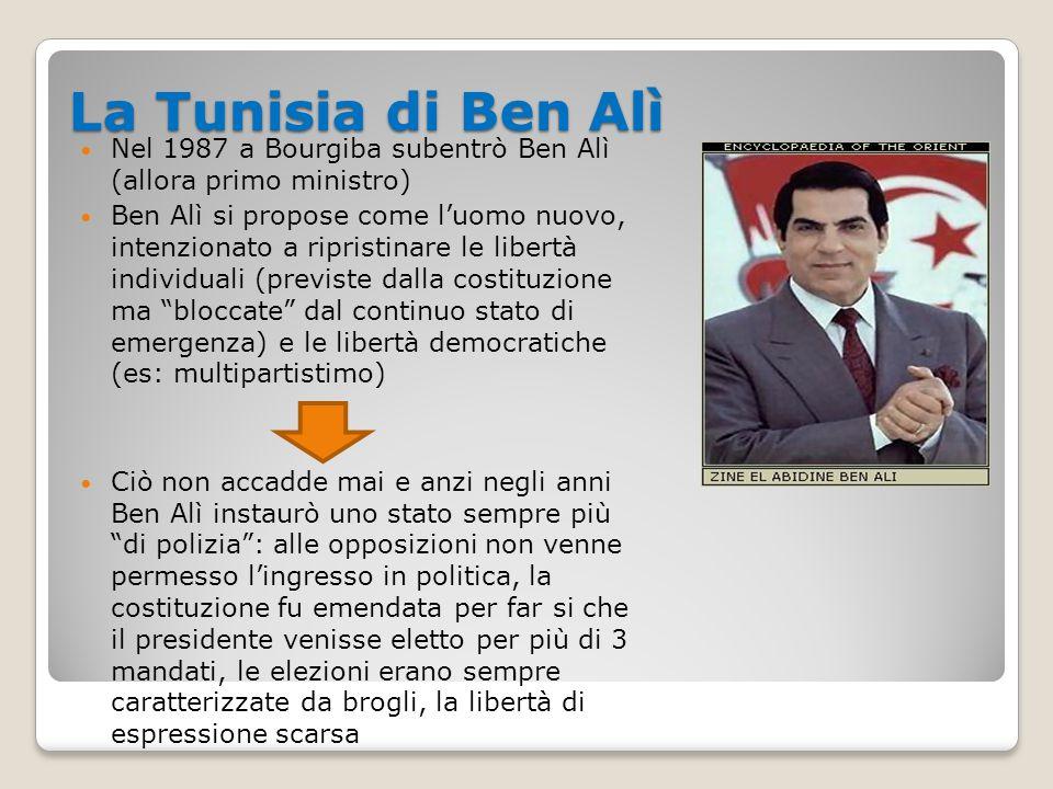 L'economia della Tunisia Estrema corruzione del regime Le ricchezze provenienti dalla vendita di materie prime, dal turismo, etc.
