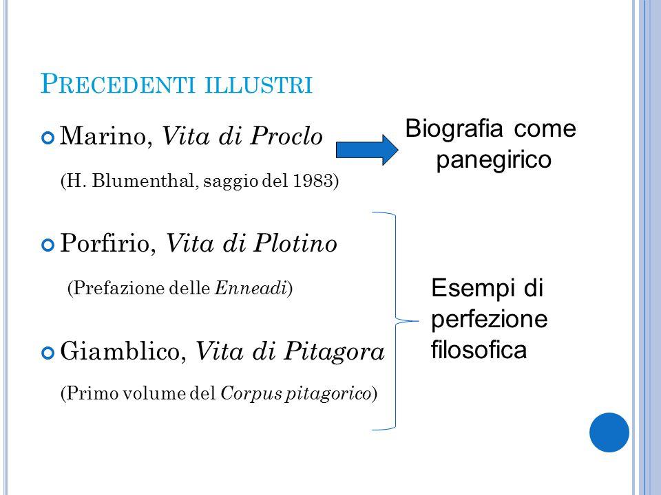 P RECEDENTI ILLUSTRI Marino, Vita di Proclo (H.