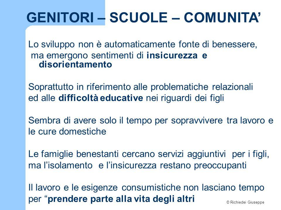 © Richiedei Giuseppe GENITORI – SCUOLE – COMUNITA' Le famiglie non pensano più di poter contare sui prossimi: parenti, amici, associazioni Poche possono far ricorso al capitale sociale di relazioni solidali.