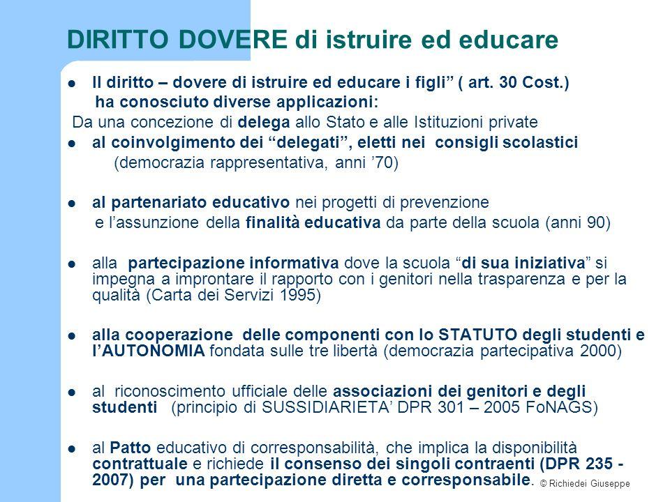 © Richiedei Giuseppe DIRITTO DOVERE di istruire ed educare Il diritto – dovere di istruire ed educare i figli ( art.