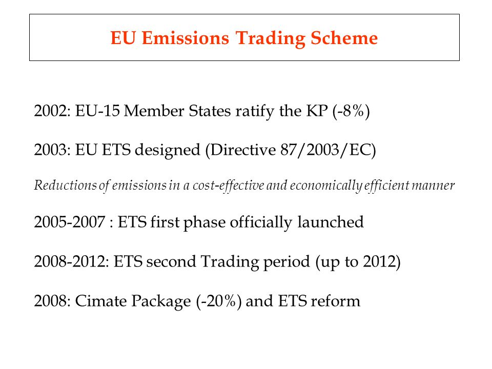 EU Emissions Trading Scheme 2002: EU-15 Member States ratify the KP (-8%) 2003: EU ETS designed (Directive 87/2003/EC) Reductions of emissions in a cost-effective and economically efficient manner 2005-2007 : ETS first phase officially launched 2008-2012: ETS second Trading period (up to 2012) 2008: Cimate Package (-20%) and ETS reform