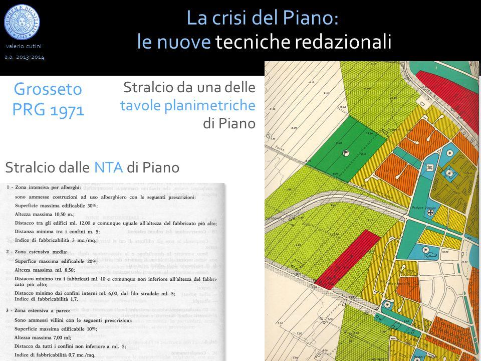 valerio cutini a.a. 2013-2014 La crisi del Piano: le nuove tecniche redazionali Grosseto PRG 1971 Stralcio da una delle tavole planimetriche di Piano