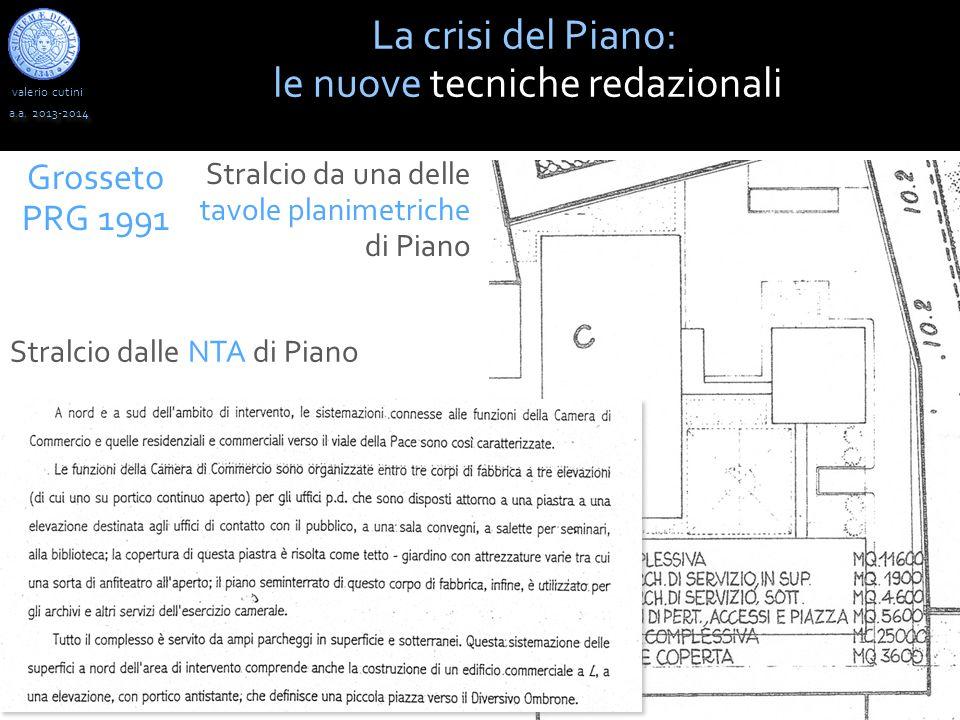 valerio cutini a.a. 2013-2014 La crisi del Piano: le nuove tecniche redazionali Grosseto PRG 1991 Stralcio da una delle tavole planimetriche di Piano