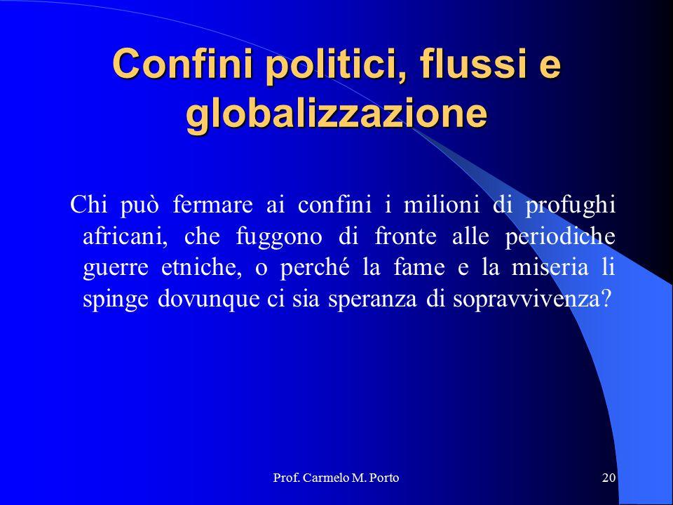 Prof. Carmelo M. Porto20 Confini politici, flussi e globalizzazione Chi può fermare ai confini i milioni di profughi africani, che fuggono di fronte a