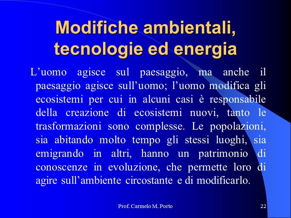 Prof. Carmelo M. Porto22 Modifiche ambientali, tecnologie ed energia L'uomo agisce sul paesaggio, ma anche il paesaggio agisce sull'uomo; l'uomo modi
